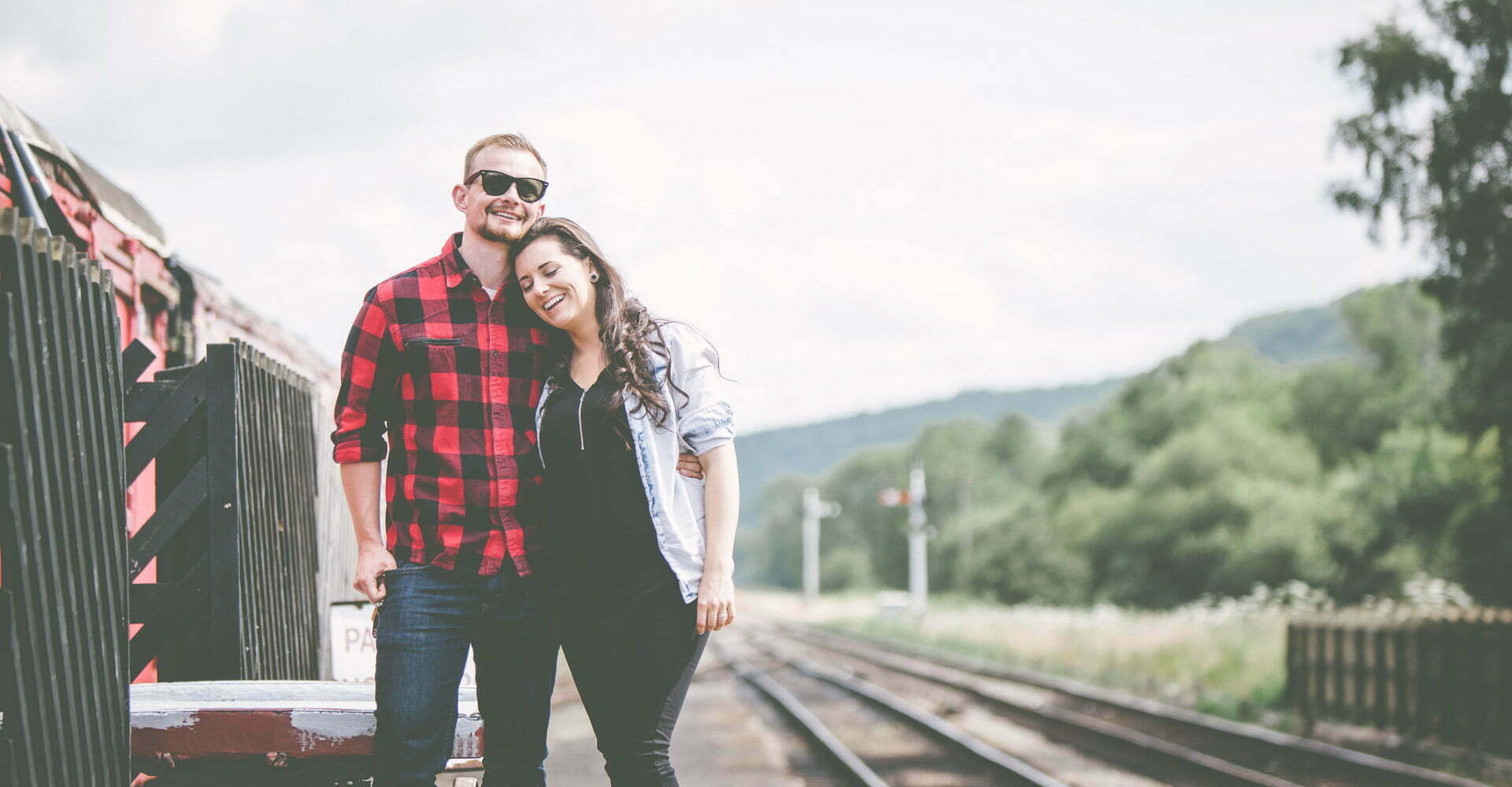 Levisham train station pre wedding engagement Levisham Wedding Photographer Yorkshire Wedding Photography North Yorkshire by Chris and Hazel Wedding Photography Ross Patterson Laurelin Matulis