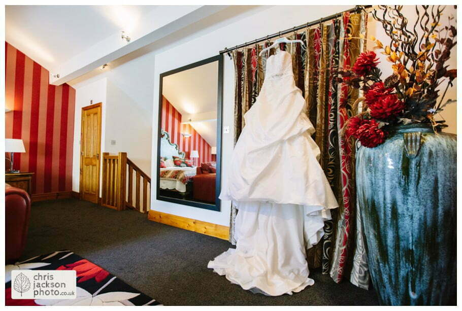 wedding dress hanging up wedding photographer gibbon bridge hotel Chris and Hazel Wedding Photography Cheryl Menzies & Simon Hopley Cheryl Hopley