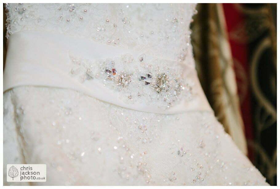 wedding dress hanging up detail wedding photographer gibbon bridge hotel Chris and Hazel Wedding Photography Cheryl Menzies & Simon Hopley Cheryl Hopley