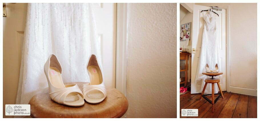 wedding dress hanging shot photograph shoes documentary bride preparations bridal york wedding photographer chris and hazel wedding photography