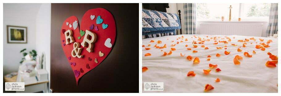 groom prep preparations flower petals on bed york wedding photographer chris and hazel wedding photography