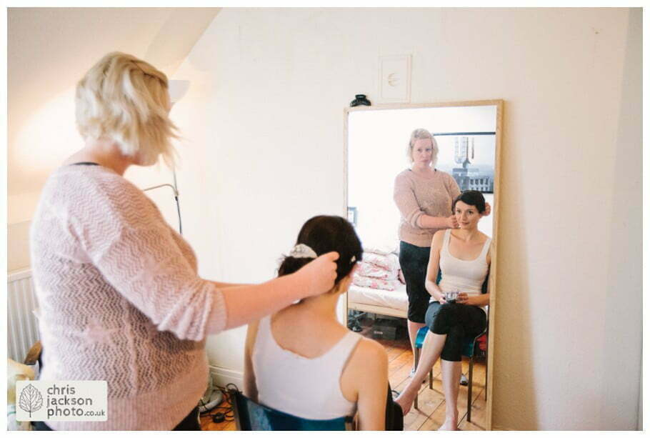 bride preparations getting ready bridal hair make up york wedding photographer chris and hazel wedding photography