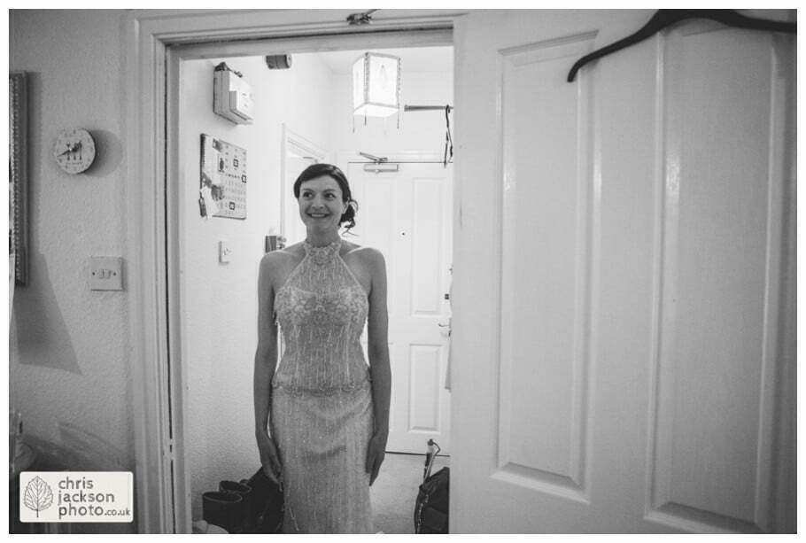 bride preparations getting ready in wedding dress first look father of bride york wedding photographer chris and hazel wedding photography