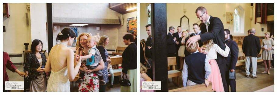 wedding church guests family congratulating york heslington church wedding day weddings documentary york wedding photographer chris and hazel wedding photography