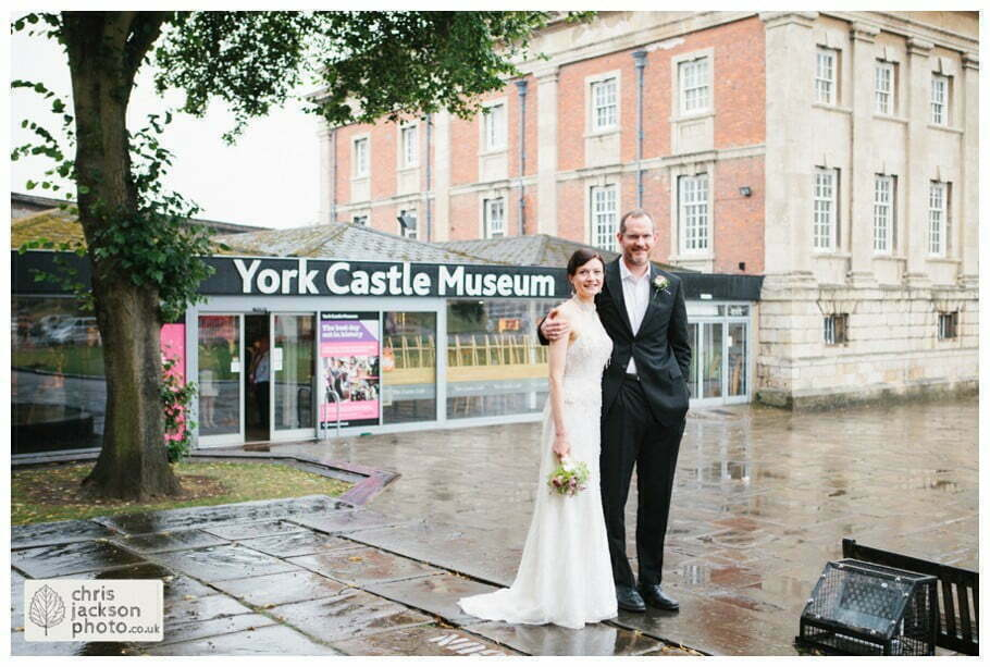 bride and groom portrait bridal photograph formal outside york castle museum wedding photography wedding photographer York chris & hazel wedding photography