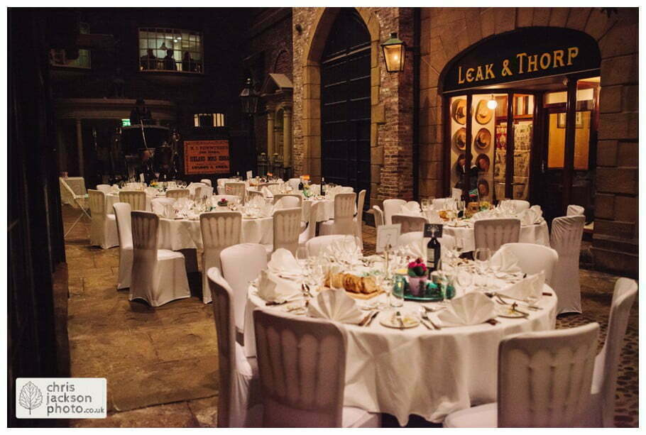 wedding breakfast tables old victorian street set wedding venue york castle museum wedding photography wedding photographer York chris & hazel wedding photography