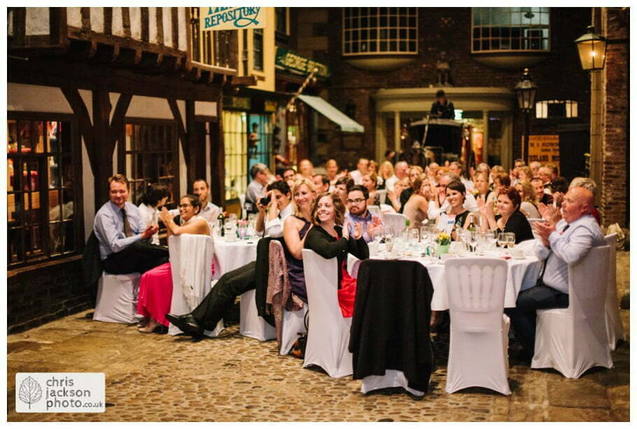 bride and groom first dance guests watch watching looking old victorian street set wedding venue york castle museum wedding photography wedding photographer York chris & hazel wedding photography
