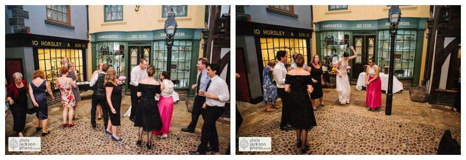 bride and groom dancing dance guests dance old victorian street set wedding venue york castle museum wedding photography wedding photographer York chris & hazel wedding photography