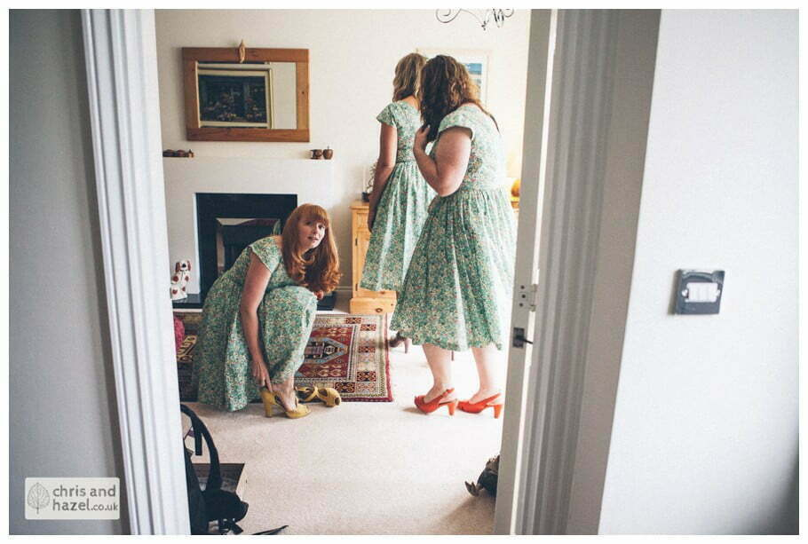 bridesmaids getting ready wedding day preparations diy vintage wedding glossop The venue at wimberry hill glossop wedding photography by Glossop wedding photographers chris and hazel natasha thorley jake rowarth
