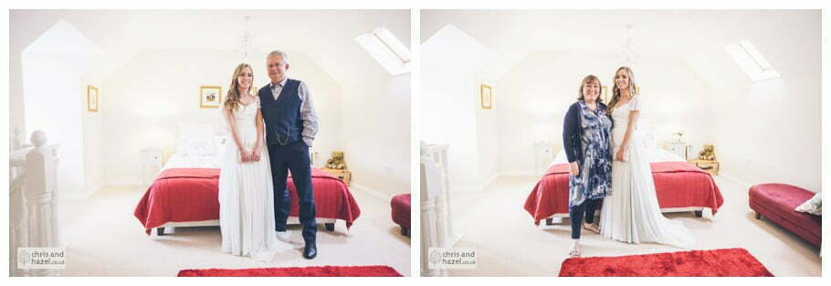 bride with parents father of bride getting ready wedding day preparations diy vintage wedding glossop The venue at wimberry hill glossop wedding photography by Glossop wedding photographers chris and hazel natasha thorley jake rowarth