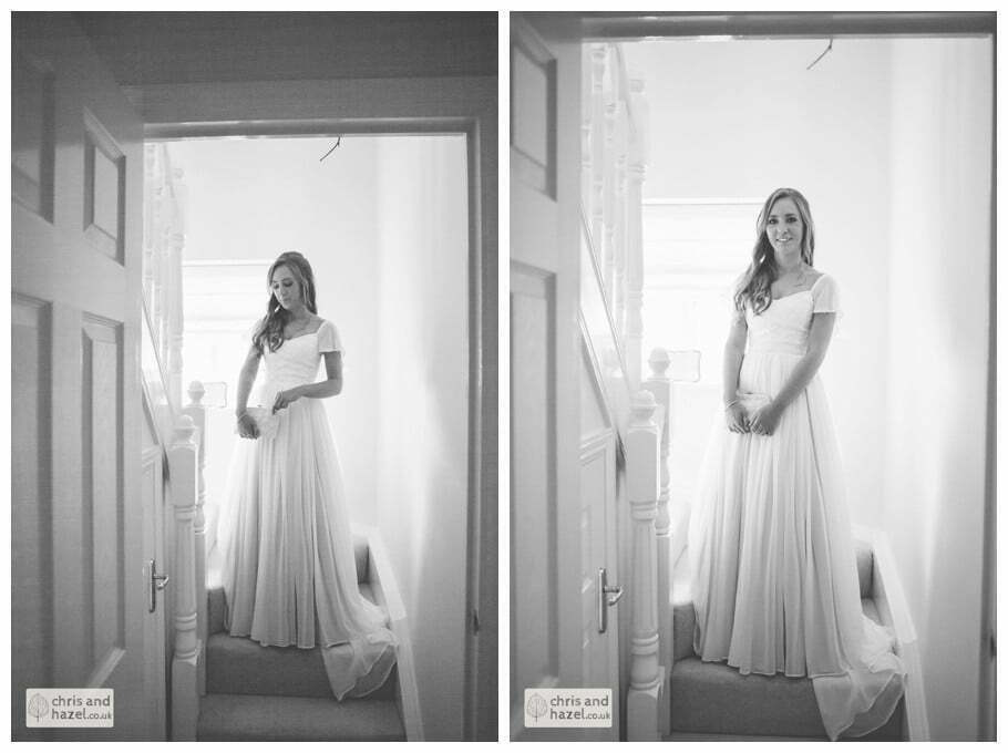 bride coming down stairs staircase bride getting ready wedding day preparations diy vintage wedding glossop The venue at wimberry hill glossop wedding photography by Glossop wedding photographers chris and hazel natasha thorley jake rowarth