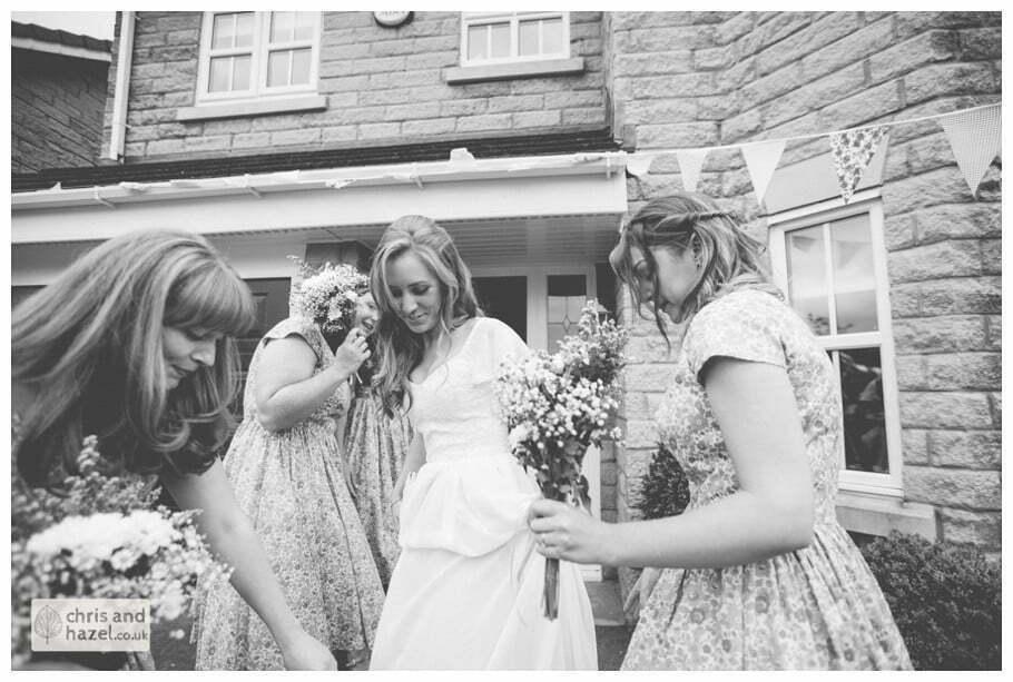 bride bridesmaids dress getting ready wedding day preparations diy vintage wedding glossop The venue at wimberry hill glossop wedding photography by Glossop wedding photographers chris and hazel natasha thorley jake rowarth