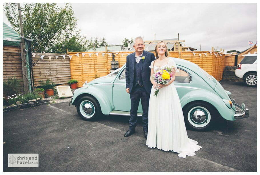 bride and father of bride getting out of wedding car volkswagen beetle outside The venue at Wimberry hill wedding day diy vintage wedding glossop The venue at wimberry hill glossop wedding photography by Glossop wedding photographers chris and hazel natasha thorley jake rowarth
