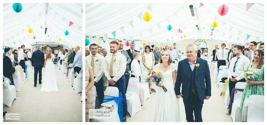 father of the bride with bride walk down aisle inside The venue at Wimberry hill wedding day diy vintage wedding glossop The venue at wimberry hill glossop wedding photography by Glossop wedding photographers chris and hazel natasha thorley jake rowarth