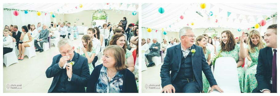 guests emotions father of bride bridesmaids inside The venue at Wimberry hill wedding day diy vintage wedding glossop The venue at wimberry hill glossop wedding photography by Glossop wedding photographers chris and hazel natasha thorley jake rowarth