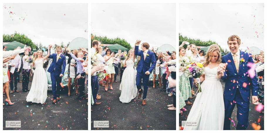 bride and groom confetti throw guests outside The venue at Wimberry hill wedding day diy vintage wedding glossop The venue at wimberry hill glossop wedding photography by Glossop wedding photographers chris and hazel natasha thorley jake rowarth