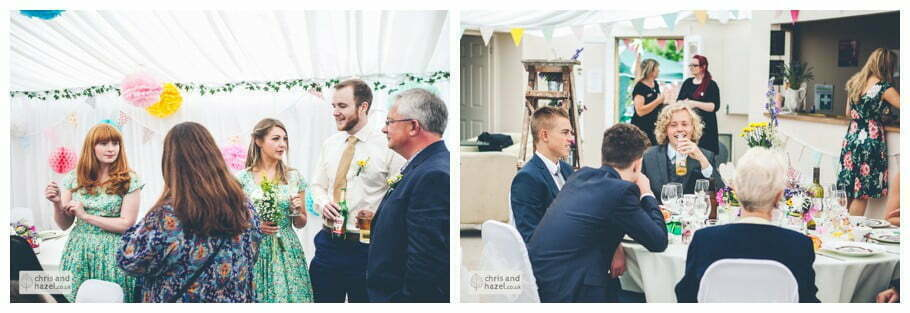 guests sit down to wedding breakfast afternoon tea inside The venue at Wimberry hill wedding day diy vintage wedding glossop The venue at wimberry hill glossop wedding photography by Glossop wedding photographers chris and hazel natasha thorley jake rowarth