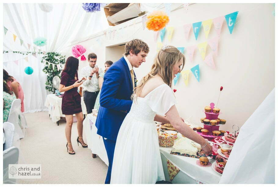 bride and groom judge baking competition great british bake off inside The venue at Wimberry hill wedding day diy vintage wedding glossop The venue at wimberry hill glossop wedding photography by Glossop wedding photographers chris and hazel natasha thorley jake rowarth