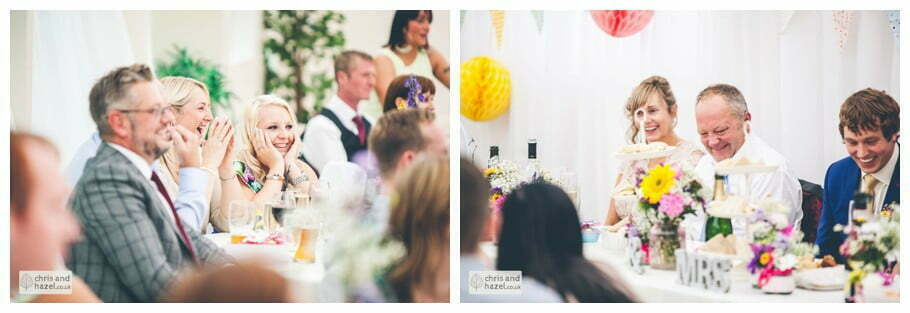 documentary reaction to father of the bride wedding speech inside The venue at Wimberry hill wedding day diy vintage wedding glossop The venue at wimberry hill glossop wedding photography by Glossop wedding photographers chris and hazel natasha thorley jake rowarth