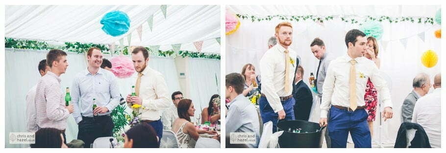 ushers bucket of beer guests mingling before evening reception inside The venue at Wimberry hill wedding day diy vintage wedding glossop The venue at wimberry hill glossop wedding photography by Glossop wedding photographers chris and hazel natasha thorley jake rowarth