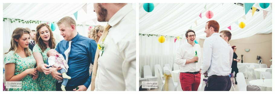 guests inside The venue at Wimberry hill wedding day diy vintage wedding glossop The venue at wimberry hill glossop wedding photography by Glossop wedding photographers chris and hazel natasha thorley jake rowarth