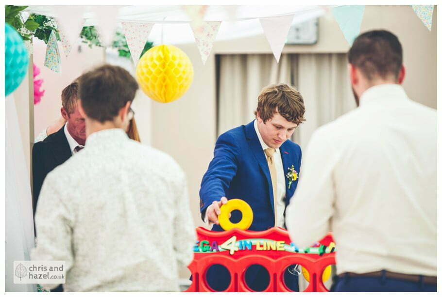 lawn games wedding games giant connect 4 four guests inside The venue at Wimberry hill wedding day diy vintage wedding glossop The venue at wimberry hill glossop wedding photography by Glossop wedding photographers chris and hazel natasha thorley jake rowarth
