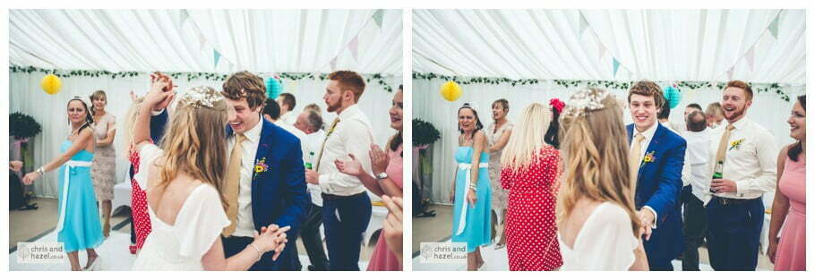 evening reception dancing guests wedding party live band inside The venue at Wimberry hill wedding day diy vintage wedding glossop The venue at wimberry hill glossop wedding photography by Glossop wedding photographers chris and hazel natasha thorley jake rowarth