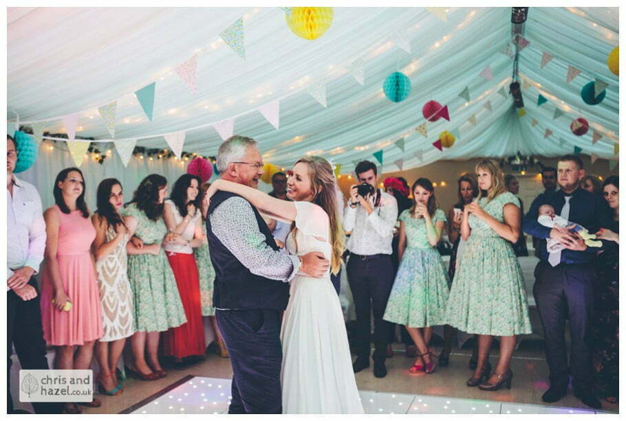 father of bride dancing with bride daughter evening reception dancing wedding party inside The venue at Wimberry hill wedding day diy vintage wedding glossop The venue at wimberry hill glossop wedding photography by Glossop wedding photographers chris and hazel natasha thorley jake rowarth