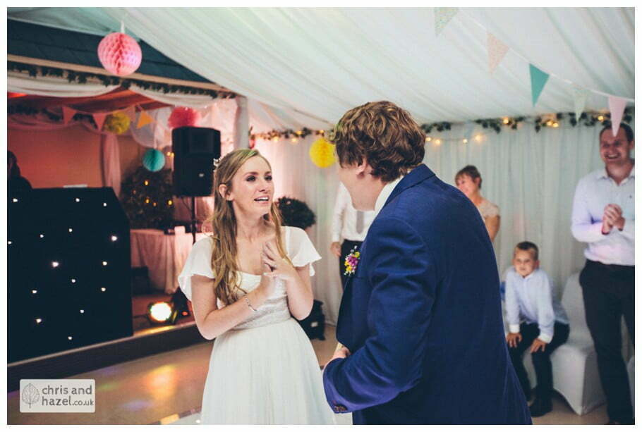tears crying bride dancing with groom evening reception dancing wedding party inside The venue at Wimberry hill wedding day diy vintage wedding glossop The venue at wimberry hill glossop wedding photography by Glossop wedding photographers chris and hazel natasha thorley jake rowarth