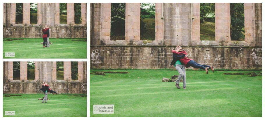 Rippon engagement photography wedding photographer Fountains Abbey yorkshire wedding photographer chris and hazel ruins couple spinning swinging ben charig frankie drummond