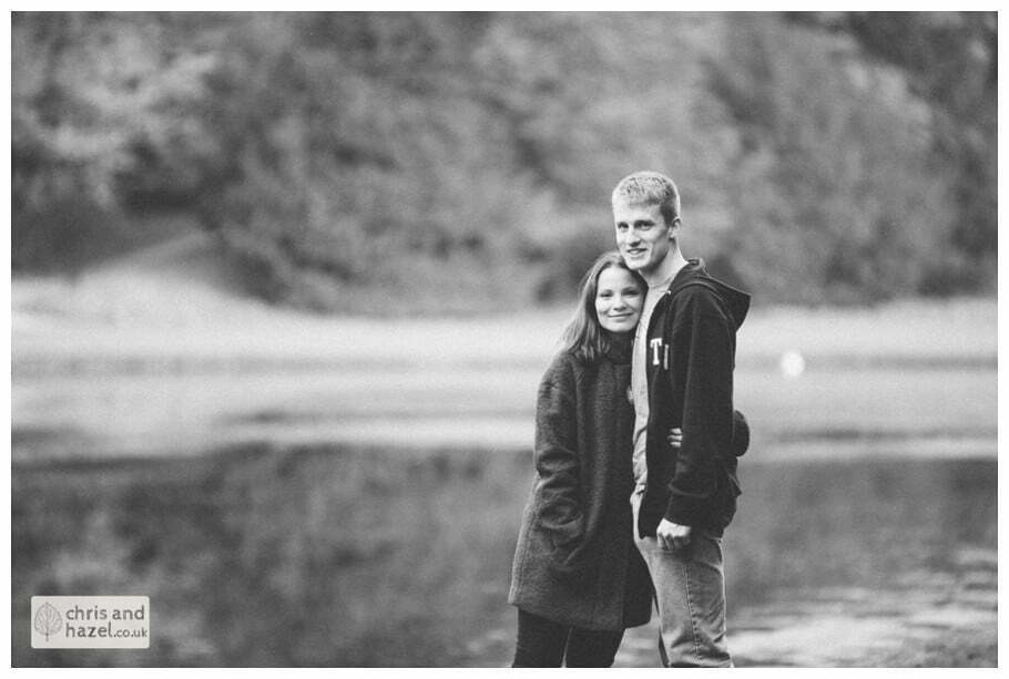 Rippon engagement photography wedding photographer Fountains Abbey yorkshire wedding photographer chris and hazel ruins couple by lake ben charig frankie drummond