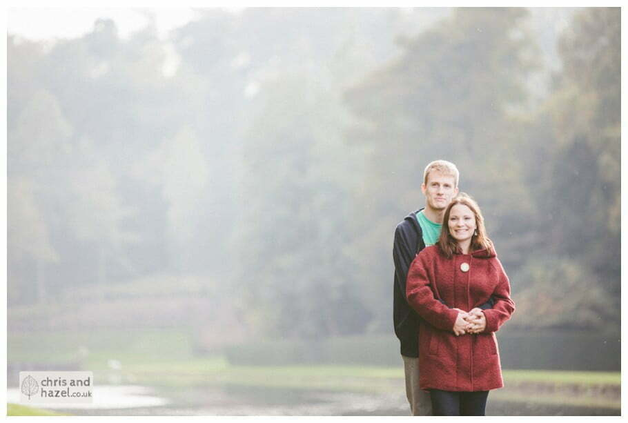 Rippon engagement photography wedding photographer Fountains Abbey yorkshire wedding photographer chris and hazel ruins couple by lakeside ben charig frankie drummond