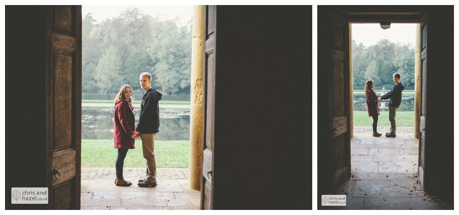 Rippon engagement photography wedding photographer Fountains Abbey yorkshire wedding photographer chris and hazel ruins couple water fountain ben charig frankie drummond
