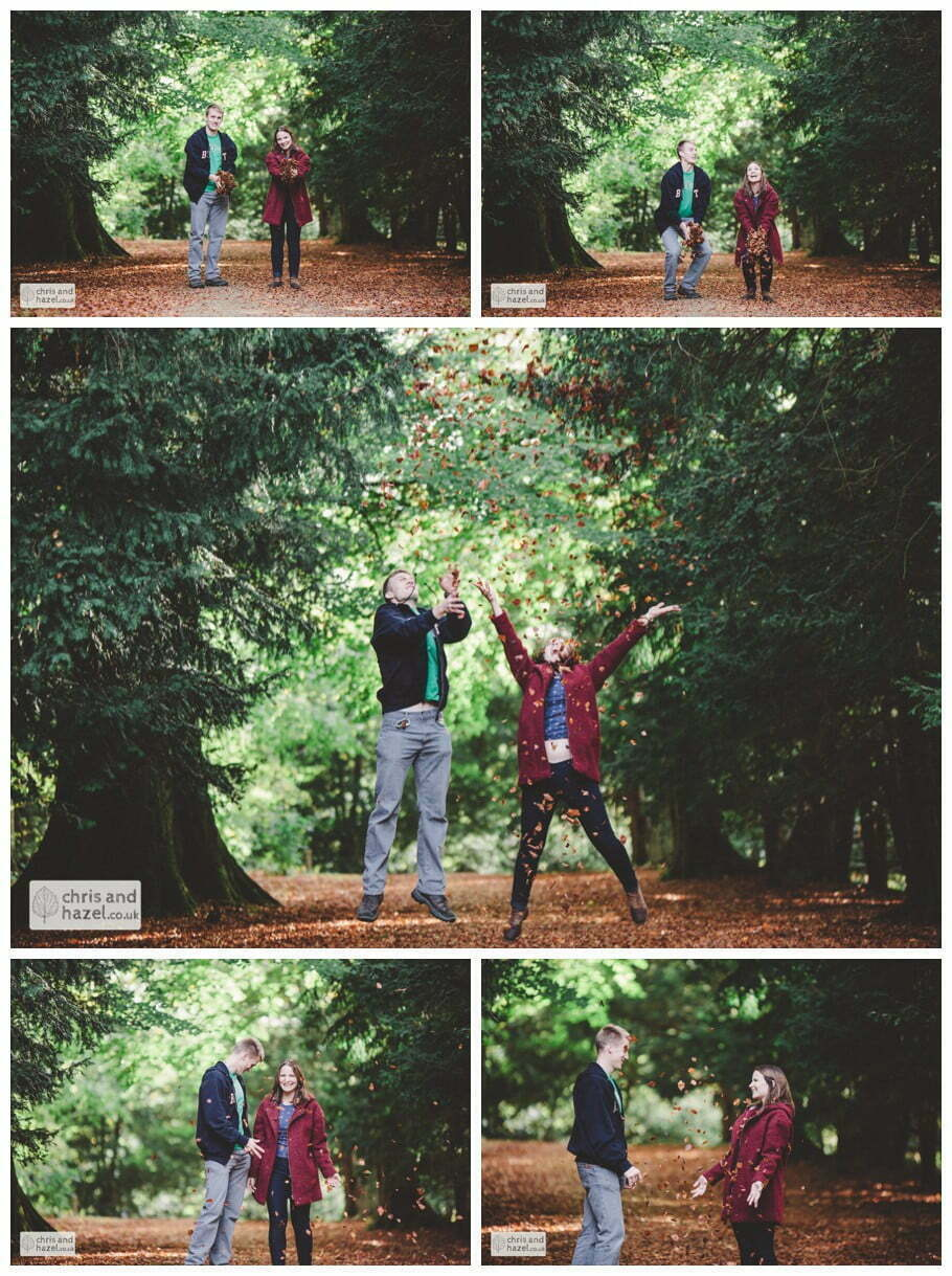 Rippon engagement photography wedding photographer Fountains Abbey yorkshire wedding photographer chris and hazel ruins couple throwing leaves autumn orange ben charig frankie drummond