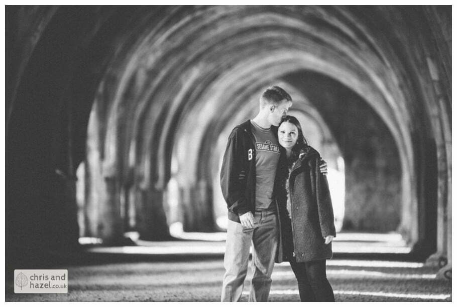 Rippon engagement photography wedding photographer Fountains Abbey yorkshire wedding photographer chris and hazel ruins couple inside fountains abbey ruins ceiling cave ben charig frankie drummond
