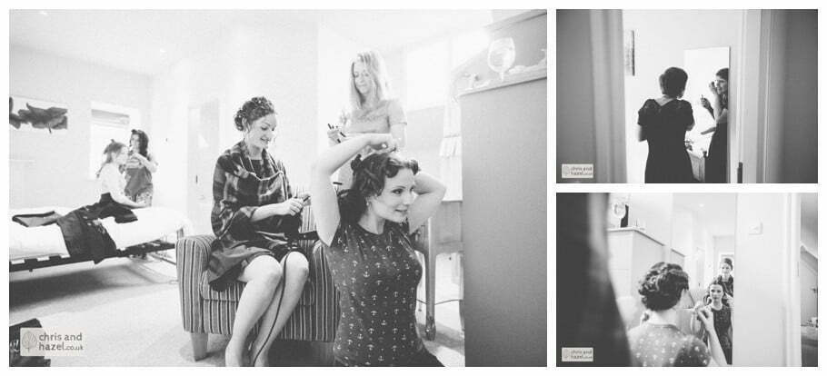 bride with bridesmaids getting ready preparations the apartment at purey cust house precentors court york city centre documentary wedding photography ben charig frankie drummond wedding photographer york wedding photography wedding winter chris and hazel wedding photography york