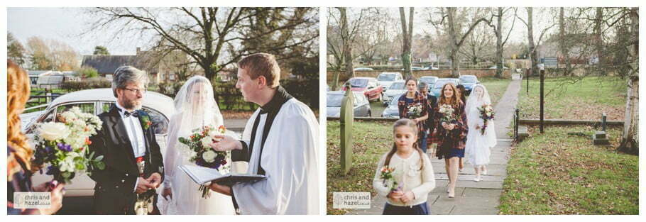 bride with father and bridesmaids outside church heslington church documentary wedding photography ben charig frankie drummond wedding photographer heslington church wedding york wedding photography wedding winter chris and hazel wedding photography york