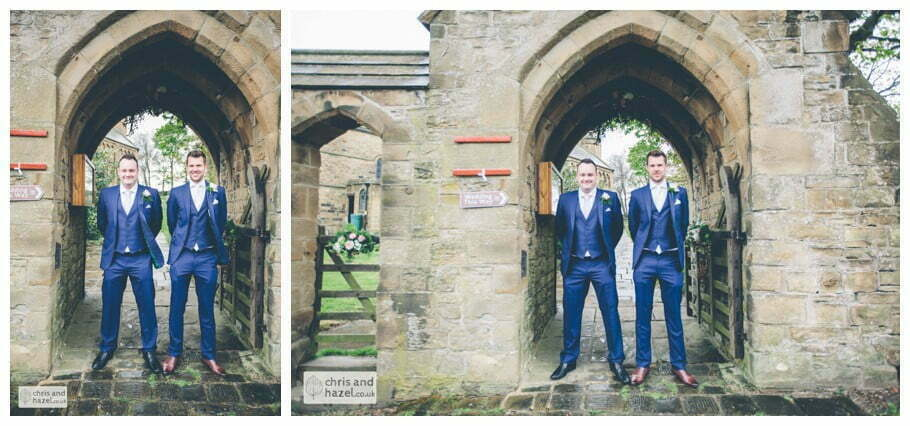 Groom and best man outside whitely church wedding Dewsbury Wedding Photographer Whitly Chris and Hazel Wedding Photography Steven Mountford Rachel Moore