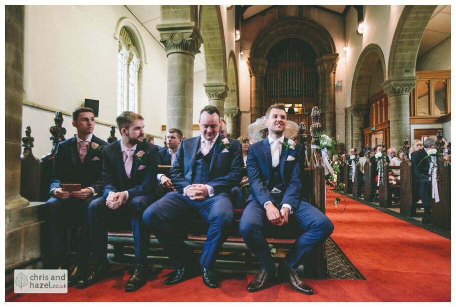 groom best man ushers front of church altar ceremony Whitly Church wedding Dewsbury Wedding Photographer Whitly Chris and Hazel Wedding Photography Steven Mountford Rachel Moore
