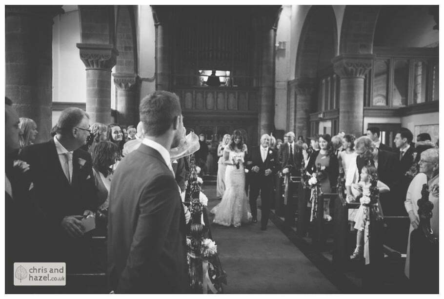 bride and father walking down aisle ceremony Whitly Church wedding Dewsbury Wedding Photographer Whitly Chris and Hazel Wedding Photography Steven Mountford Rachel Moore