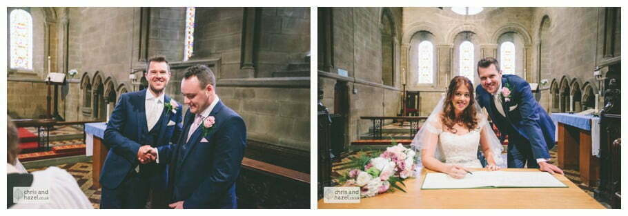 vows ring exchange bride and groom at front of church altar ceremony Whitly Church wedding Dewsbury Wedding Photographer Whitly Chris and Hazel Wedding Photography Steven Mountford Rachel Moore