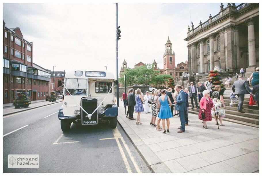 Vintage wedding bus Leeds town hall wedding photography leeds town hall steps robin young clare robertson wedding