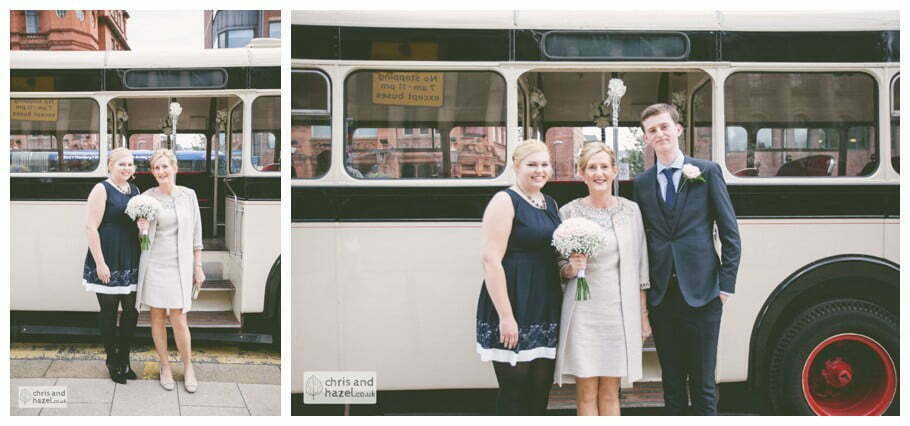 bride family single decker wedding bus Leeds town hall wedding photography leeds town hall steps robin young clare robertson wedding