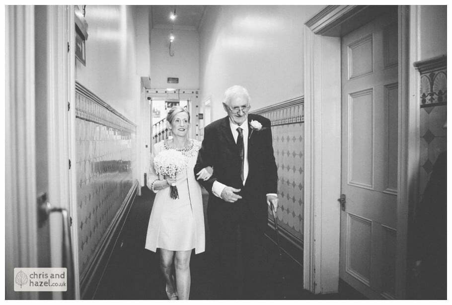 bride and father Leeds town hall wedding photography leeds town hall steps robin young clare robertson wedding