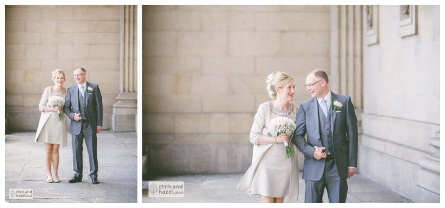 outside bride groom portrait formal family photographs Leeds town hall wedding photography leeds town hall steps robin young clare robertson wedding