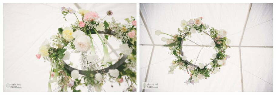 flower ceiling marquee gazebo english garden wedding Leeds wedding photography leeds robin young clare robertson wedding