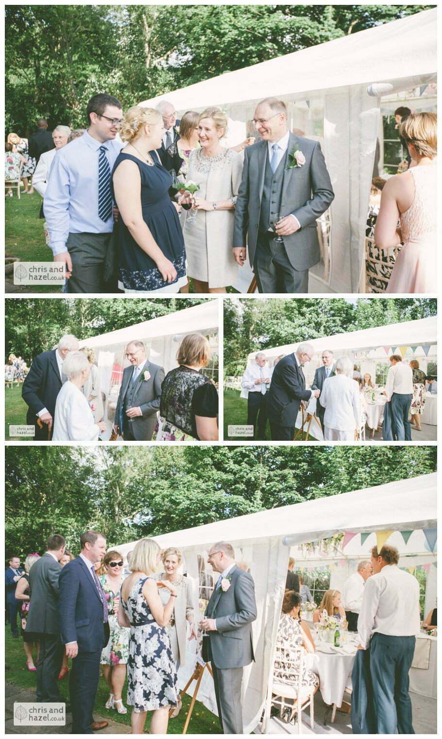 guests outside english garden wedding Leeds wedding photography leeds robin young clare robertson wedding