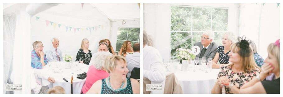groom speech in marquee gazebo english garden wedding Leeds wedding photography leeds robin young clare robertson wedding