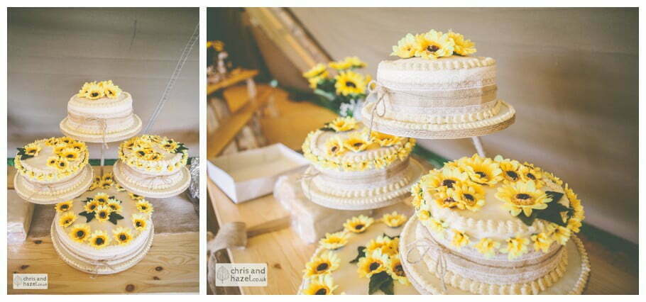 sunflower wedding cake flowers rustic wedding theme hessian papkata tipi teepee documentary Wedding Photographer Harrogate Wedding Photography Braisty Estate by Chris and Hazel Wedding Photography Jonny Dunn Stef Brown