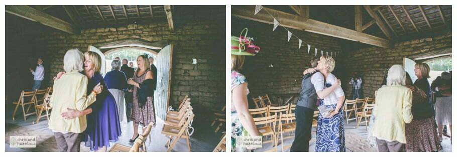 wedding ceremony in barn documentary Wedding Photographer Harrogate Wedding Photography Braisty Estate by Chris and Hazel Wedding Photography Jonny Dunn Stef Brown